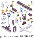 Isometric set of people at the airport, luggage 64884985