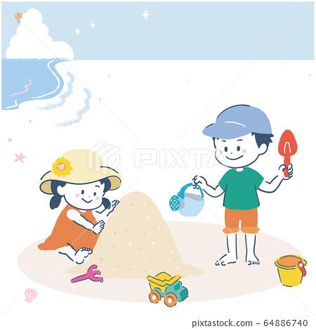 모래 사장에서 노는 소녀와 소년 일러스트 64886740