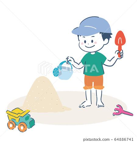 모래 장난을하는 소년 일러스트 64886741
