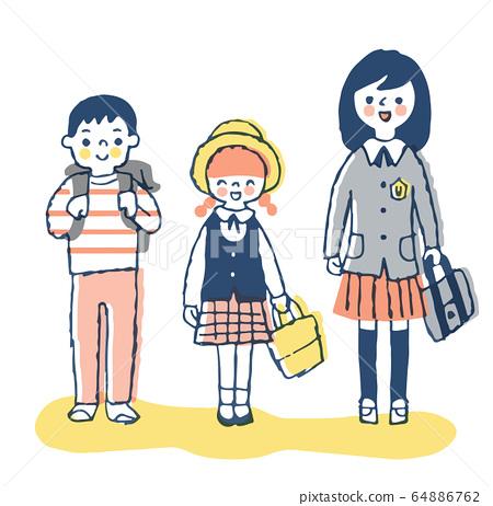 三個面帶笑容的孩子 64886762