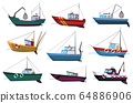 Collection of fishing boats side view isolated on white background. Commercial fishing trawlers for industrial seafood production vector illustration. Sea fishing, ships marine industry, fish boats 64886906