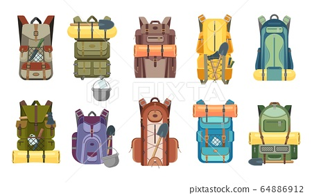 Backpack or rucksack with tourist equipment icons 64886912