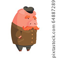 Cartoon old pig with cap and mustache. Illustration for funny kids game. T-shirt vector logo design 64887289
