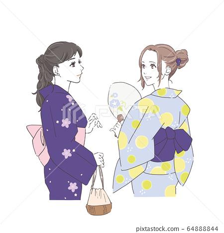 兩名婦女在浴衣的插圖 64888844