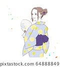 Illustration of a woman in a yukata 64888849