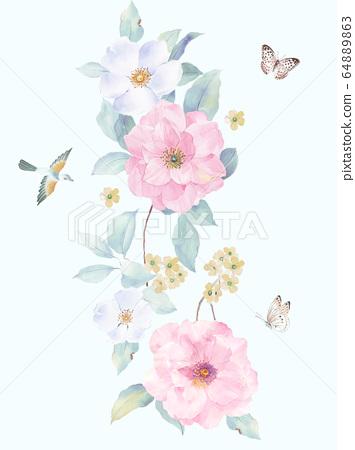 화려한 꽃 소재 조합 및 디자인 요소 64889863
