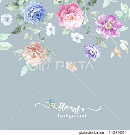 色彩豐富的花卉素材組合和設計元素 64889864