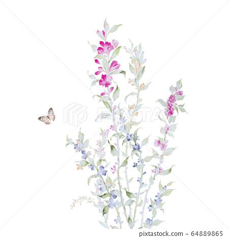 色彩豐富的花卉素材組合和設計元素 64889865