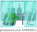 Urban look from balcony, concept cityscape and terrace loggia flat vector illustration. Cozy relax place, design interior pot flower. 64890851