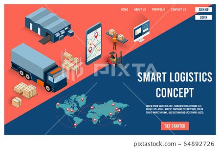Modern flat design isometric concept of Smart Logistics with global logistics partnership for website and mobile website.  Easy to edit and customize. Vector illustration 64892726