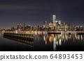 New York City Skyline at Night  64893453