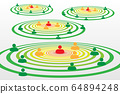 People silhouette symbols in concentric circles concept with Covid-19 contact tracing system 64894248