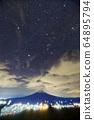 셋 고개에서 보는 후지산과 겨울 별자리 64895794
