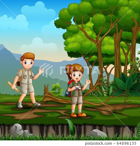 Happy children exploring nature illustration 64896135