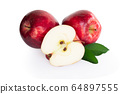 Fresh red apple fruit with green leaf isolated  64897555