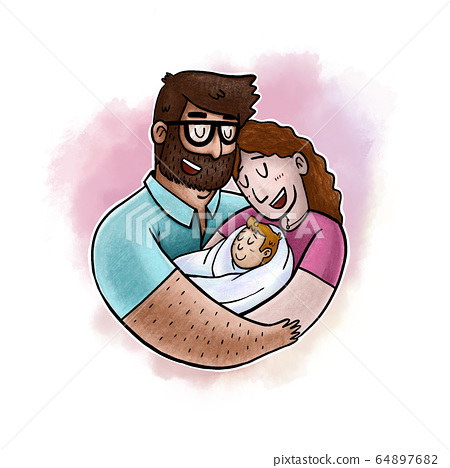Lovely Beautiful Couple Holding Baby in Their Arms. 64897682