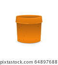 Empty Yellow Clay Plant Pot on iSolated White. 64897688