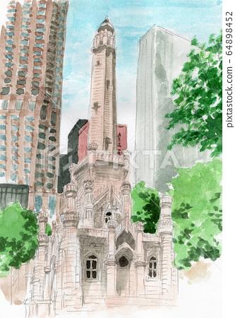 芝加哥水塔水彩素描 64898452