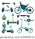 Personal Eco Friendly Electric City Transport Collection, Segway, Gyroscooter, Electro Bike, Monowheel Vehicles Vector Illustration 64899533