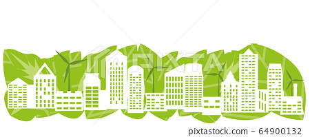 Abstract green town with renewable energy. 64900132