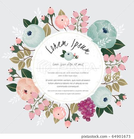 Vector illustration of a floral frame in spring 64901673