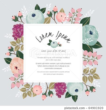 Vector illustration of a floral frame in spring 64901920