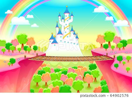 Fantasy landscape with castle and bridge 64902576