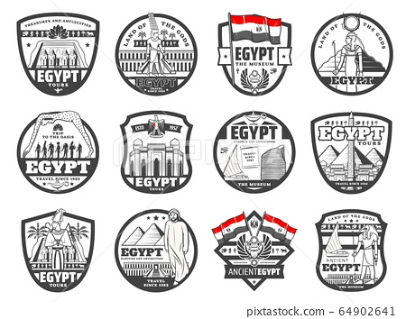 Ancient Egypt culture Cairo landmarks travel icons 64902641