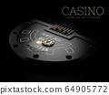 3d Rendering of Black Jack table with a play carts and chip, clipping path included 64905772