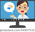 온라인 진찰 · 진료 여성 의사 PC 화면 64907532