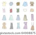 一套春夏服装的手绘插图/可爱 64908875