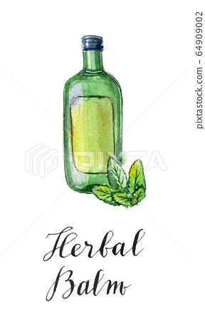 Green bottle of herbal balm with green leaves 64909002