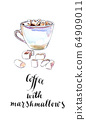 Cup of black coffee with marshmallows 64909011