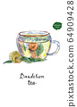 Glass cup of healthy dandelion tisane tea in watercolor. Herbal medicine 64909428