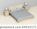 Bedroom with wooden furniture 64910171