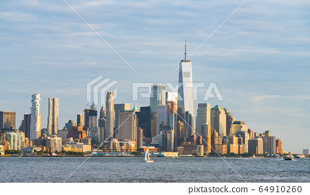 new york city skyline at sunset,new york,usa. 64910260