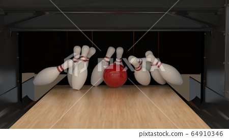 Red bowling strike ball on a wooden track with pins 64910346