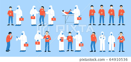 Set of isolated vector illustrations in flat style. Coronavirus COVID-19. Clip art for health care, medicine design. Doctor in white hazmat suit and coughing, sneezing people. Happy man in mask.