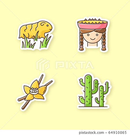 Peru printable patches. Incas country features. RGB color stickers, pins and badges set. Guinea pig, peruvian girl, vanilla, cactuses. Peruvian traditions, nature. Vector isolated illustrations 64910865