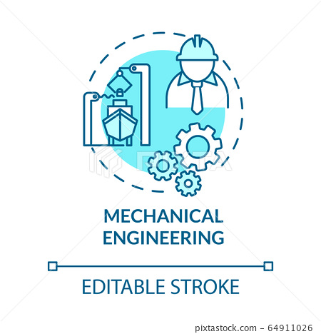 Mechanical engineering turquoise concept icon. Nautical industry worker. Marine vessel maintenance idea thin line illustration. Vector isolated outline RGB color drawing. Editable stroke 64911026