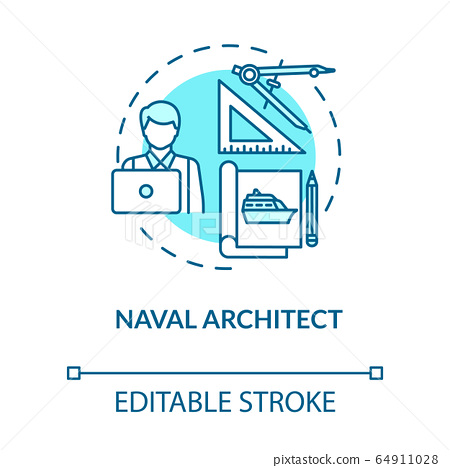 Naval architect turquoise concept icon. Professional maritime worker. Boat project. Marine engineer idea thin line illustration. Vector isolated outline RGB color drawing. Editable stroke 64911028