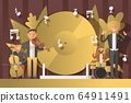 Performance people musicians in suits, vector illustration. Men character play classical music on musical instruments, violin 64911491