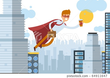 Superhero assistant flies to work with takeaway coffee, business worker vector illustration. Man in cloak move through air 64911647