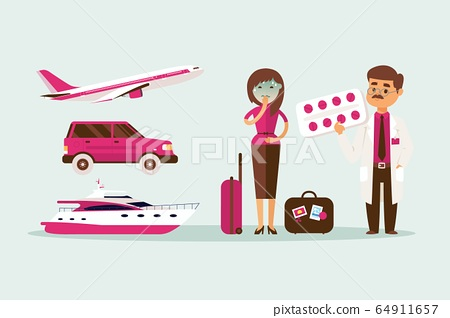 People motion sickness while traveling in transport vector illustration. Pale girl with luggage near car, plane and yacht, nausea. 64911657
