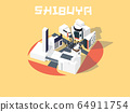 isometric illustration vector graphic design concept of Shibuya, Tokyo, Japan 64911754
