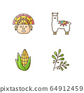 Peru RGB color icons set. Andean country features. Alpaca, incas, corn, coca. Incas history, and life traditions. Peruvian customs. Traveling in South America. Isolated vector illustrations 64912459