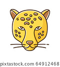 Jaguar yellow RGB color icon. Leopard head. Cheetah. Wild large spotted cat living in South America. Strong aggressive predator. Jungle dweller. American panther. Isolated vector illustration 64912468