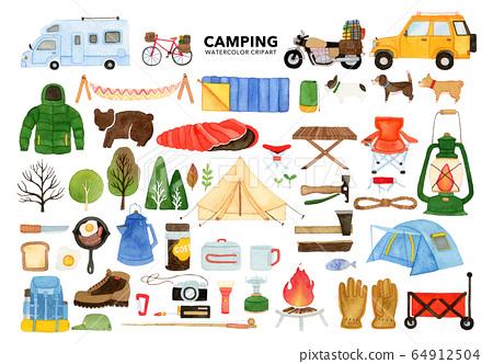 手繪水彩畫|露營剪貼畫水彩插圖集(露營裝備) 64912504