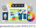 Graduation people, online education for seniors vector illustration. Information app for cartoon student. Happy man, woman 64912571