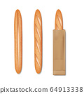 French baguette bread in a paper bag. Set of tasty baked goods for breakfast. Realistic baguette bread and loaf isolated. vector illustration 64913338